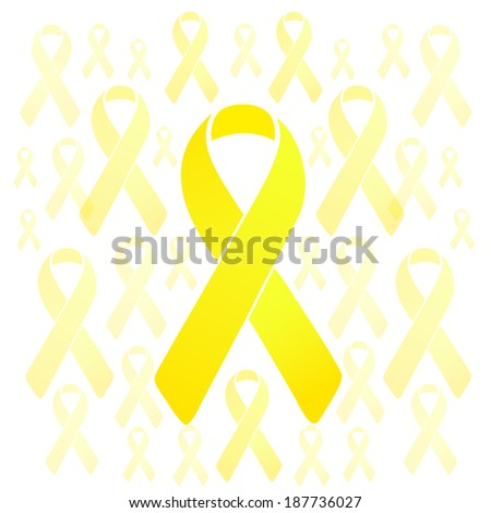 support our troops yellow ribbons illustration design over a white background - stock photo