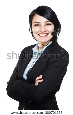 Support phone call center operator in headset - stock photo
