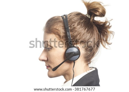Support phone operator in headset isolated on white - stock photo