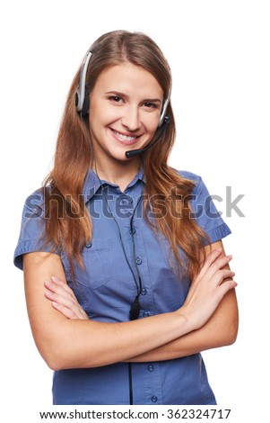 Support phone operator in headset smiling looking at camera, isolated on white - stock photo