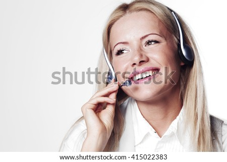 Support phone operator portrait in headset - stock photo