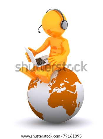 Support phone operator sitting on earth globe. Isolated on white background - stock photo