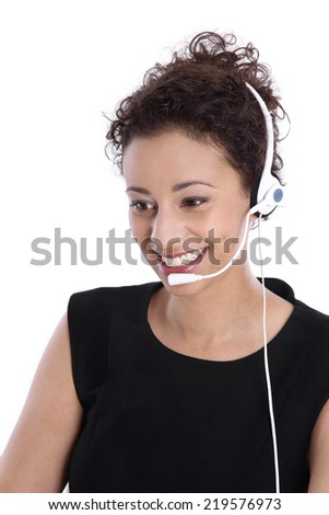 Support phone operator with headset: isolated young business woman. - stock photo