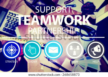 Support Teamwork Partnership Group Collaboration Concept - stock photo