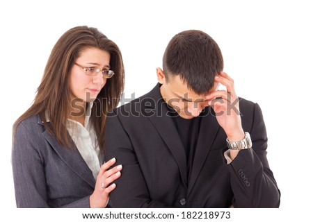 supporting woman consoling and comforting sad worried man - stock photo