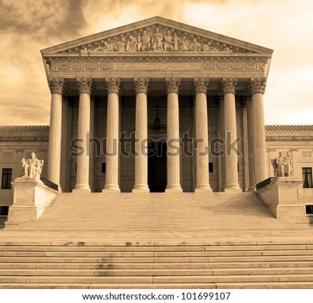 Supreme Court building in Washington, DC, United States of America - sephia - stock photo