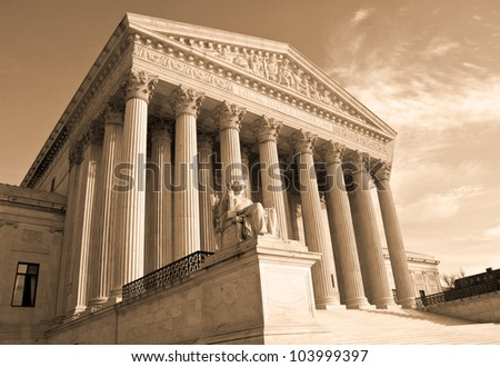 Supreme Court building in Washington, DC, United States of America - sephia - stock photo