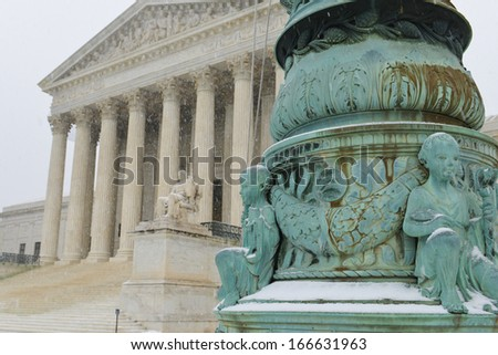 Supreme Court building in winter - Washington DC United States  - stock photo