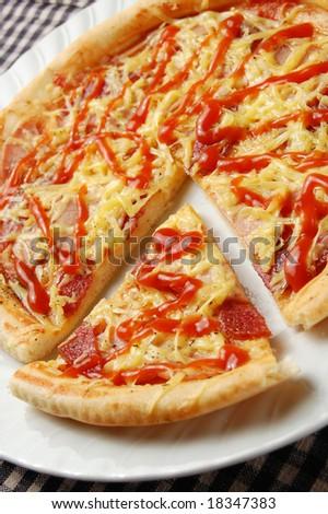 Supreme Pizza (shallow DOF) - stock photo