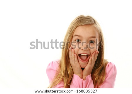 suprised young caucasian girl isolated on white - stock photo