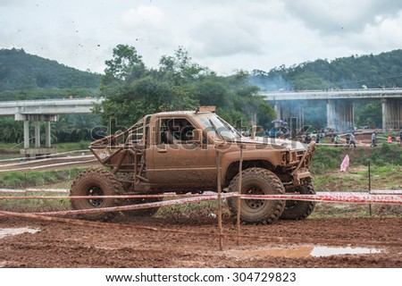 SURATTHANI THAILAND- Aug.9: The off-road racing rally on the hill All of this rally for charity and free fee for everyone. August 9,2015 in Surat thani province,Thailand - stock photo