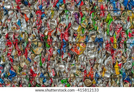 Suratthani,Thailand, May 5,2016:Aluminium cans pressed and plastic bottle to packed for recycling .  - stock photo