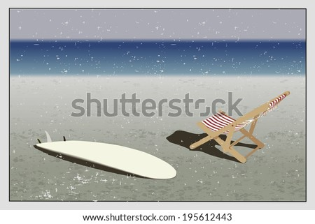 Surf and sun lounger on the beach, background in vintage style  - stock photo