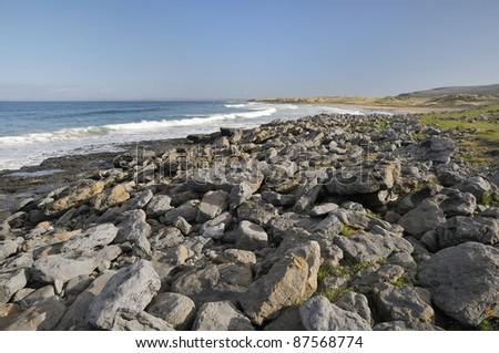 Surf on Fanore beach & sand dunes, Co. Clare, Ireland - stock photo