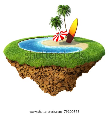 Surf on little planet. Concept for travel, holiday, hotel, spa, resort design. Tiny island / planet collection. - stock photo