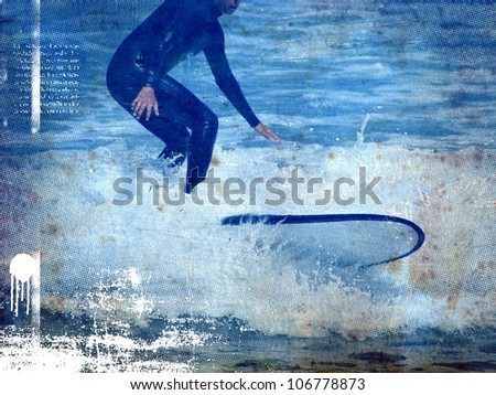 surf poster with rider and vintage style - stock photo