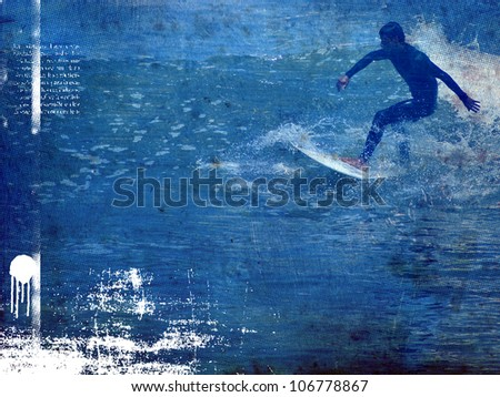 surf poster with rider in action - stock photo