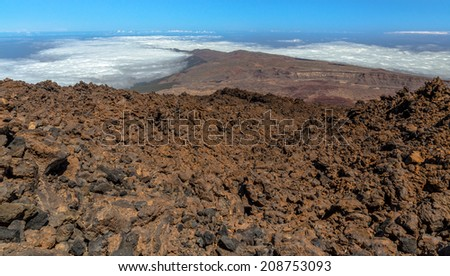 Surface of Teide volcano formed by volcanic rocks. - stock photo