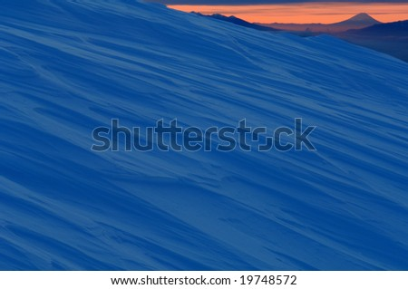 Surface of the snow and Mt. Fuji - stock photo