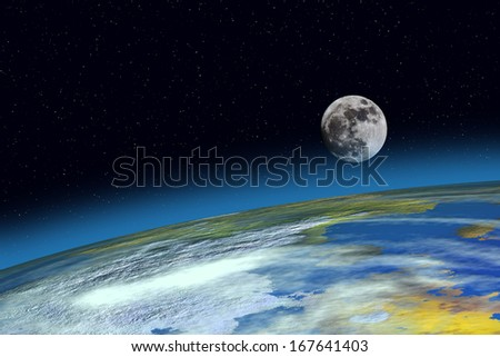 Surface Planet Earth and Moon from space - stock photo