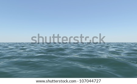 Surface sea against the blue sky. 3d rendering - stock photo