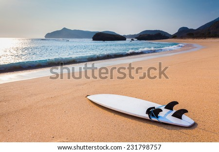Surfboard on the wild beach of Sumbawa, Indonesia - stock photo