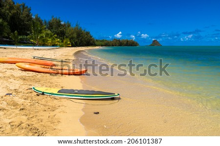 Surfboards and Kayaks on the shore of a beautiful tropical beach - stock photo