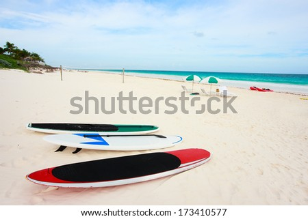 Surfboards and paddle boards at tropical beach - stock photo