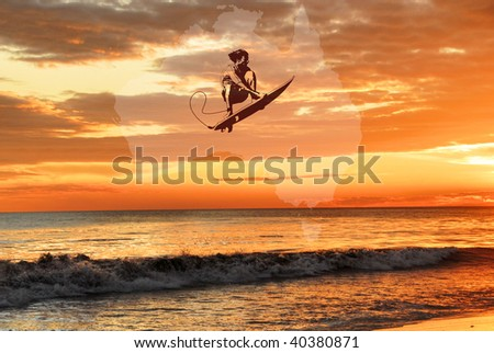 Surfer Abstract - stock photo
