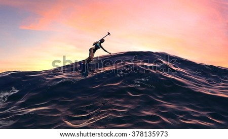 Surfer Girl With Selfie Stick At Sunrise or Sunset - stock photo