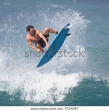 surfer in the air - stock photo