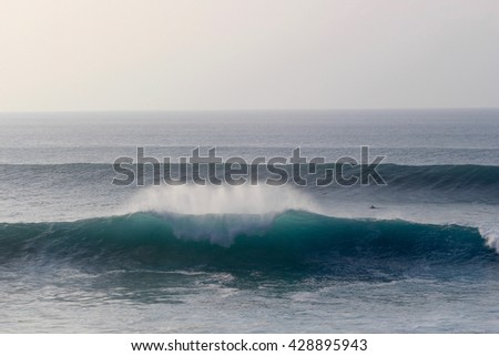 Surfer paddling for giant wave at Honolua Bay, Maui. - stock photo