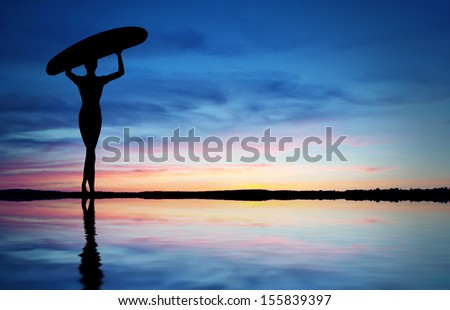 Surfer Silhouette - stock photo