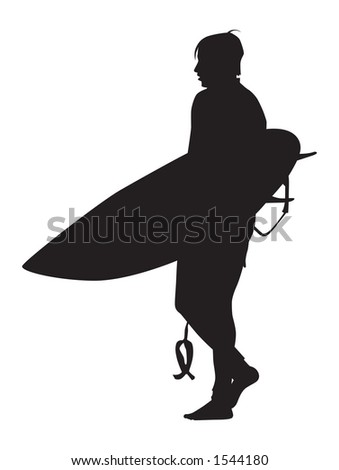 Surfer silhouette checking out the break. - stock photo