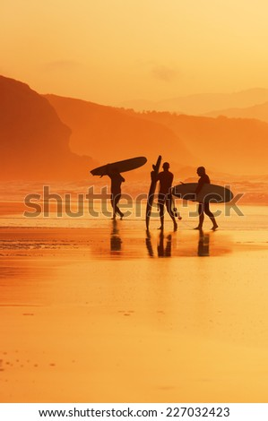 surfers exiting water on the shore at sunset - stock photo
