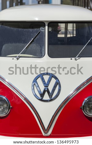 SURFERS PARADISE, AUSTRALIA - MAR 30: German Volkswagen Transporter van presented at the Gold Coast Festival  on the Old timer Gallery on September 30, 2013 in Surfers Paradise, Australia. - stock photo
