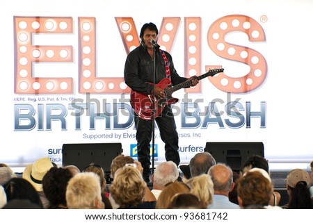 "SURFERS PARADISE - JAN 7 An unidentified  singer / performer on the stage  during the concert  ""Surfers Paradise Elvis Birthday Bash"" Saturday 7  2011 Surfers Paradise Queensland Australia . - stock photo"