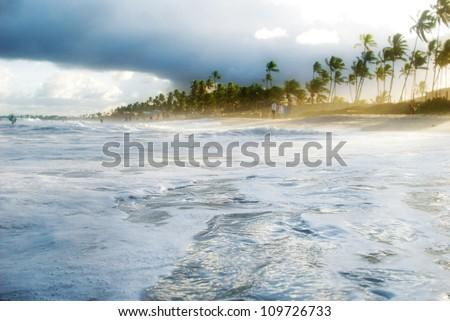 Surfers view of Brazilian beach. - stock photo