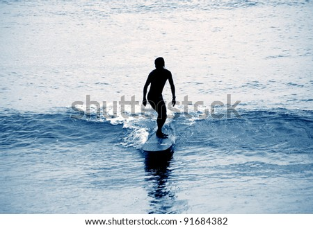 Surfing beaches in Queensland, Australia - stock photo