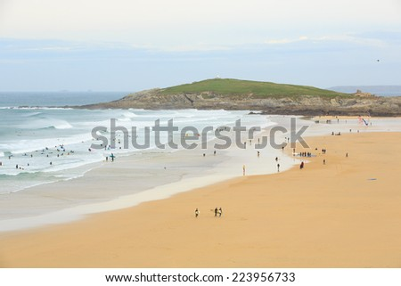 Surfing, Fistral Beach, Newquay, England - stock photo