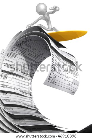 Surfing On Tax Forms - stock photo