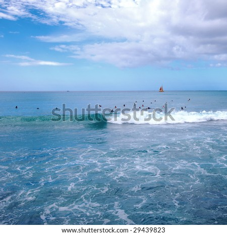 Surfing on the Pacific Ocean - Hawaii - stock photo