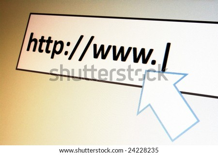 surfing with browser in the internet to a onlinebanking website - stock photo