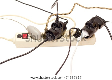 Surge Protector overloaded 10 consumers of electricity - stock photo