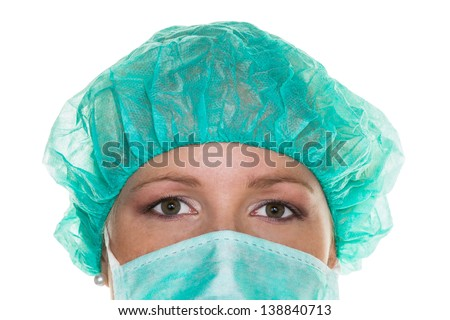 surgeon with a mask and hood. doctor ready for surgery - stock photo