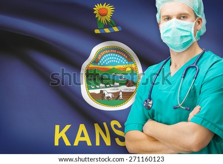 Surgeon with US state flag on background - Kansas - stock photo