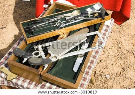 surgical equipment on display at a civil war reenactment at Picacho Peak State Park, Arizona - stock photo