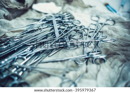 surgical instruments and tools including scalpels - stock photo