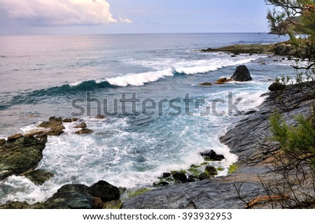 surging sea on coastline - Cap Corse -France - stock photo