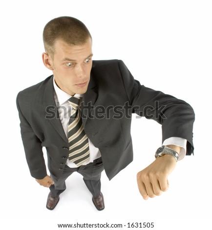 surprice late businessman - stock photo